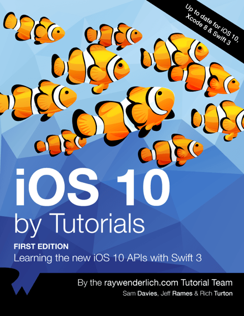 iOS 10 by Tutorials book cover